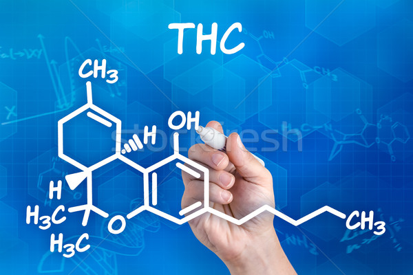 hand with pen drawing the chemical formula of thc Stock photo © Zerbor