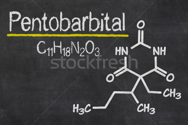 Blackboard with the chemical formula of Pentobarbital Stock photo © Zerbor