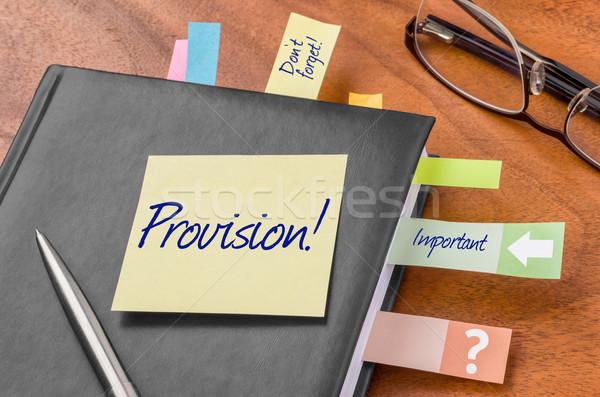 Planificateur note collante travaux stylo sécurité portable Photo stock © Zerbor