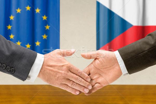Eu Czechy Shake Hands działalności ręce sukces Zdjęcia stock © Zerbor