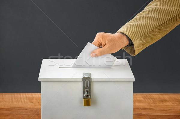 Férfi szavazócédula szavazás doboz buli törvény Stock fotó © Zerbor