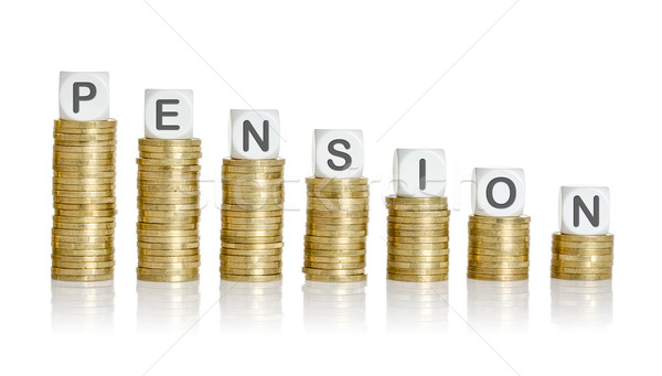 Coin stacks with letter dice - Pension Stock photo © Zerbor