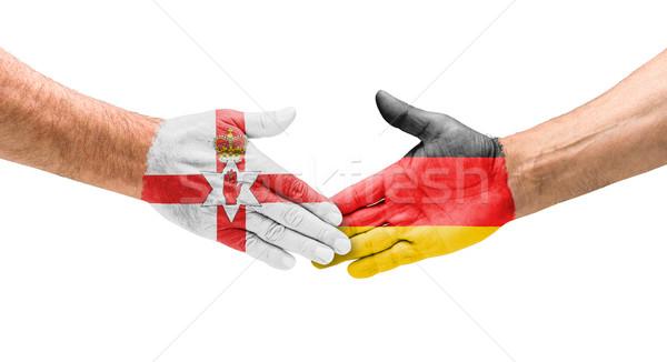 Football teams - Handshake between Northern Ireland and Germany Stock photo © Zerbor