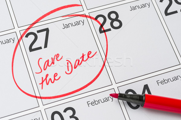 Save the Date written on a calendar - January 27 Stock photo © Zerbor