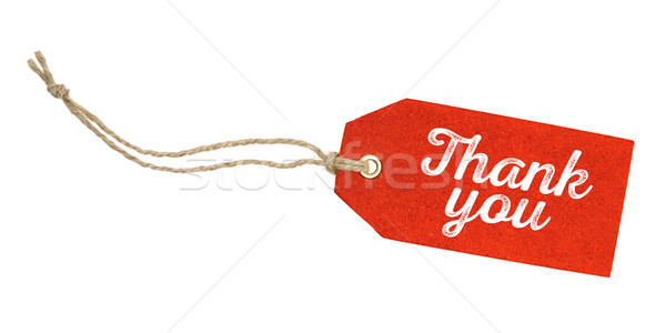 Tag on a white background with the text Thank you Stock photo © Zerbor