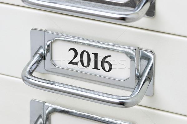 Fiók faliszekrény címke 2016 fém felirat Stock fotó © Zerbor