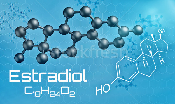 Three-dimensional molecular model of Estradiol - 3d render Stock photo © Zerbor