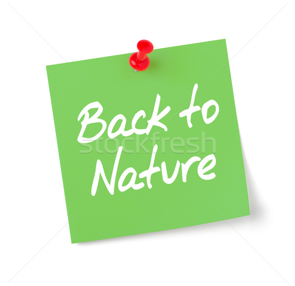 Green paper note with text Back to Nature Stock photo © Zerbor