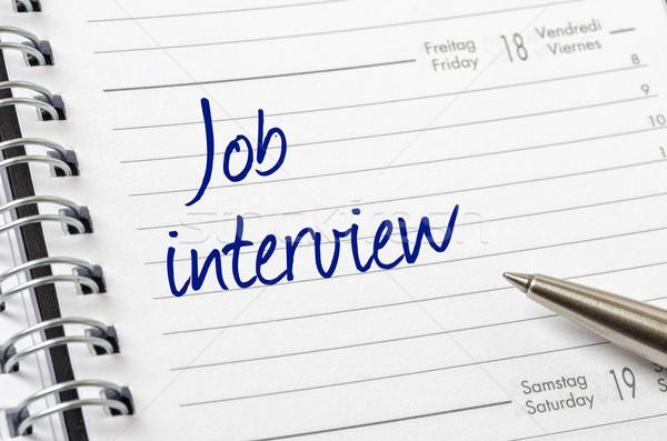 Entrevista de emprego escrito calendário página trabalhar caneta Foto stock © Zerbor