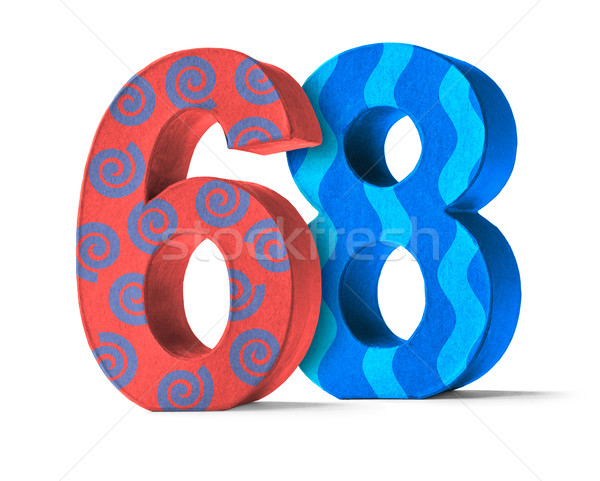 Colorful Paper Mache Number on a white background  - Number 68 Stock photo © Zerbor