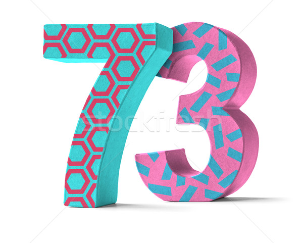 Colorful Paper Mache Number on a white background  - Number 73 Stock photo © Zerbor