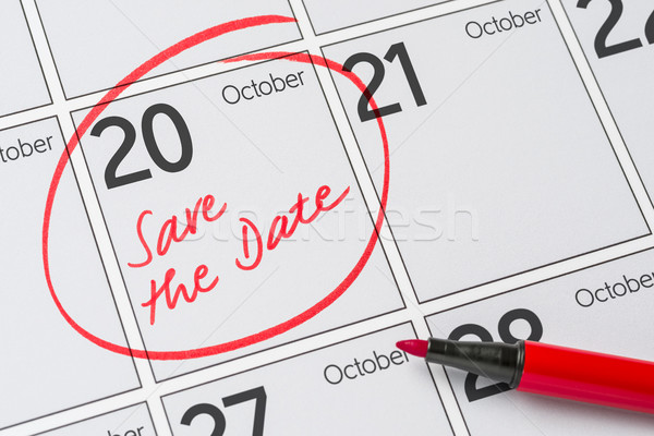 Save the Date written on a calendar - October 20 Stock photo © Zerbor