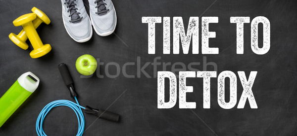 Fitness equipment on a dark background - Time to detox Stock photo © Zerbor