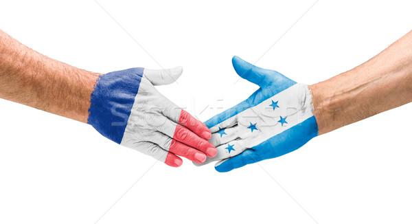 Aperto de mão França Honduras mão reunião esportes Foto stock © Zerbor