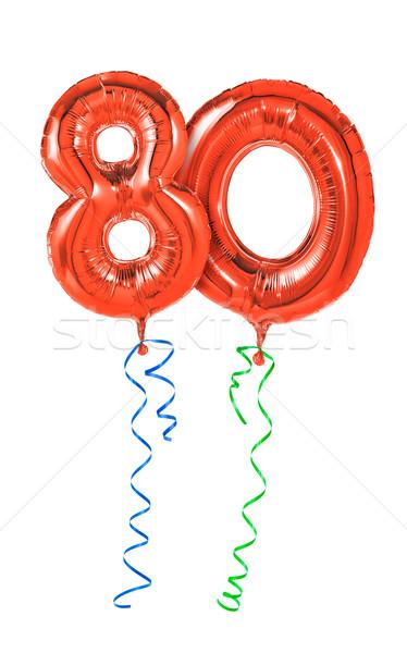 красный шаров лента числа до 80 вечеринка Сток-фото © Zerbor