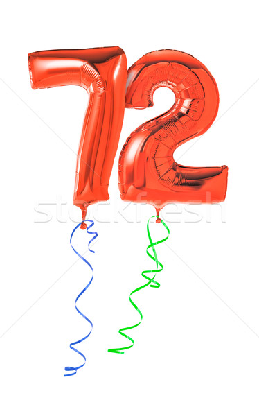 Red balloons with ribbon - Number 72 Stock photo © Zerbor