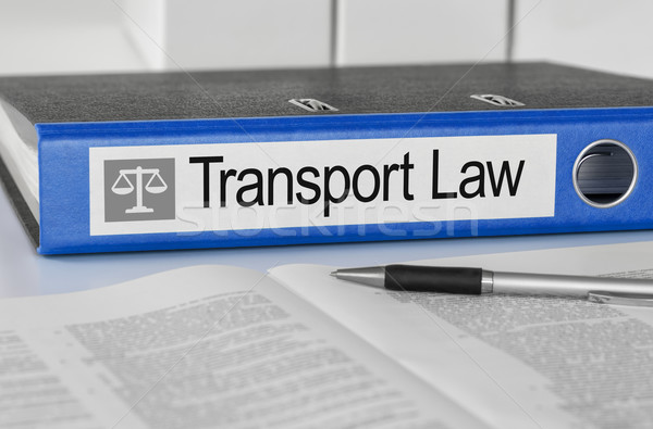Blue folder with the label Transport Law Stock photo © Zerbor