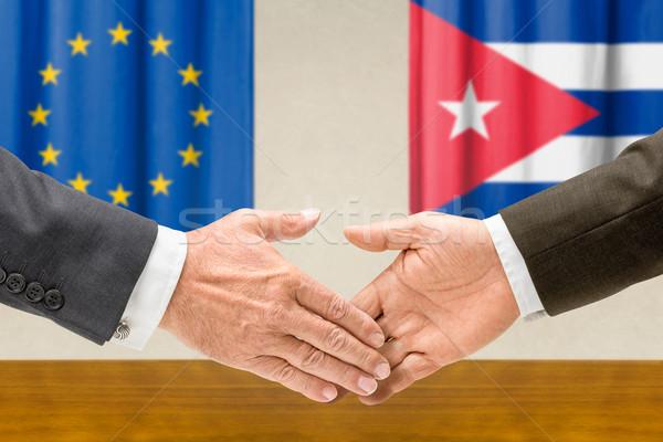 Cuba stringere la mano mano riunione segno Foto d'archivio © Zerbor
