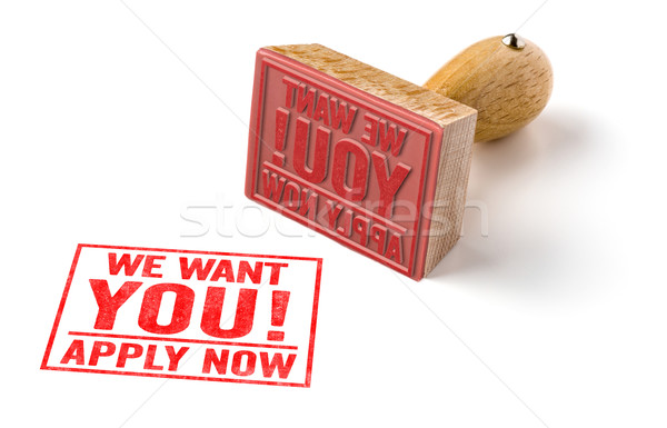 A rubber stamp on a white background - We want you Stock photo © Zerbor
