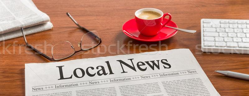 újság fából készült asztal helyi hírek kávé Stock fotó © Zerbor