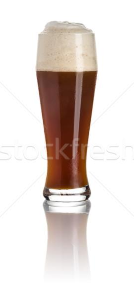 Dark wheat beer on a white background Stock photo © Zerbor