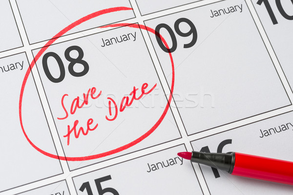 Save the Date written on a calendar - January 08 Stock photo © Zerbor
