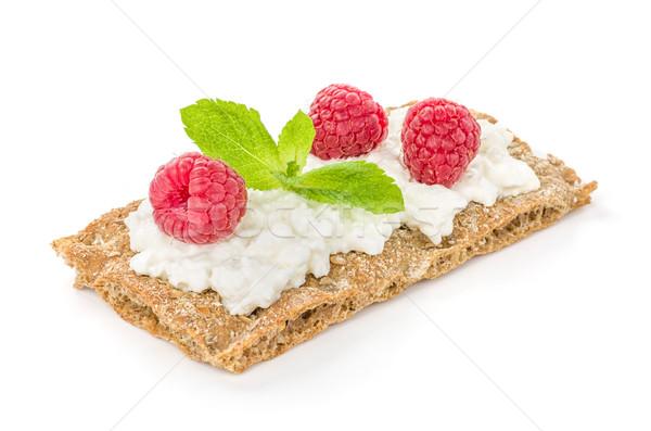 Crispbread with cream cheese and raspberries  Stock photo © Zerbor