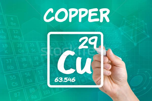 Símbolo químicos elemento cobre mano tecnología Foto stock © Zerbor