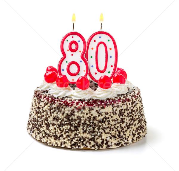 именинный торт сжигание свечу числа до 80 торт Сток-фото © Zerbor
