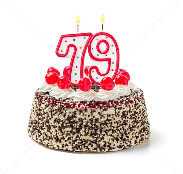 Birthday cake with burning candle number 79 Stock photo © Zerbor