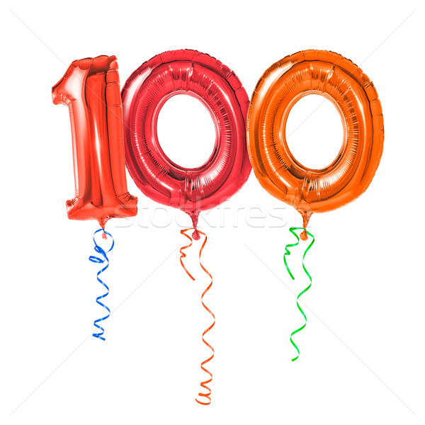 Red balloons with ribbon - Number 100 Stock photo © Zerbor