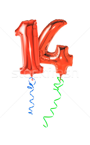 Red balloons with ribbon - Number 14 Stock photo © Zerbor