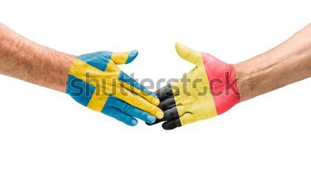 Voetbal teams handdruk Zweden België hand Stockfoto © Zerbor