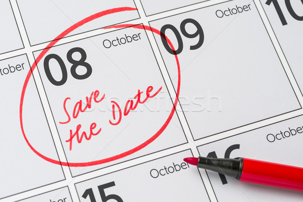 Save the Date written on a calendar - October 8 Stock photo © Zerbor