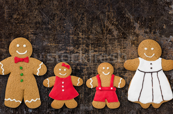 A gingerbread family on a baking tray Stock photo © Zerbor