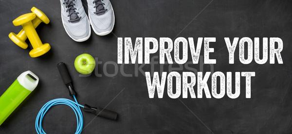 Fitnessz felszerlés sötét javít edzés gyümölcs Stock fotó © Zerbor