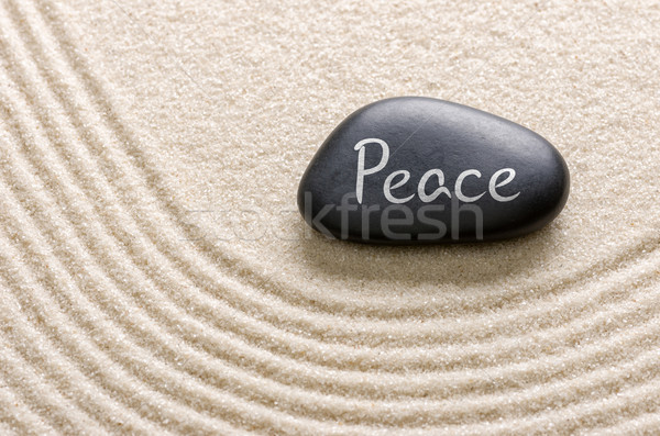 Black stone with the inscription Peace Stock photo © Zerbor