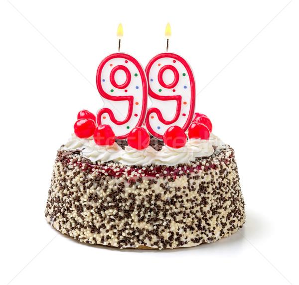 Birthday cake with burning candle number 99 Stock photo © Zerbor