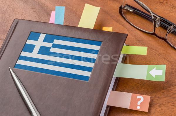 Notebook bandiera Grecia business riunione lavoro Foto d'archivio © Zerbor