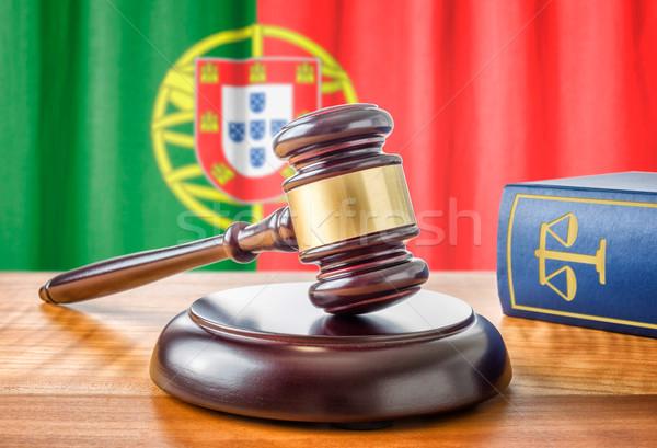 Tokmak hukuk kitap Portekiz bayrak çekiç Stok fotoğraf © Zerbor
