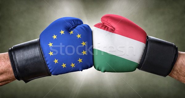 A boxing match between the European Union and Hungary Stock photo © Zerbor