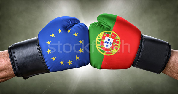 A boxing match between the European Union and Portugal Stock photo © Zerbor