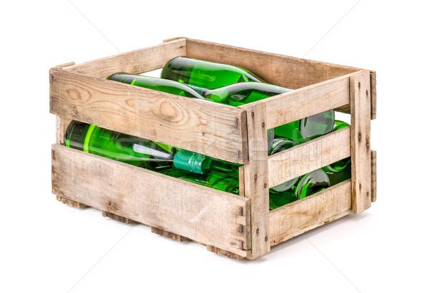 Klasszikus fából készült bor láda fehérbor üvegek Stock fotó © Zerbor