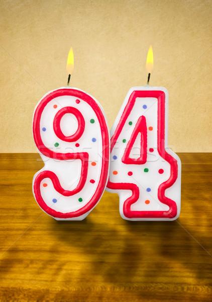 égő születésnapi gyertyák szám fa felirat naptár Stock fotó © Zerbor