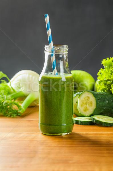 Zöld smoothie friss gyümölcsök zöldségek alma üveg Stock fotó © Zerbor