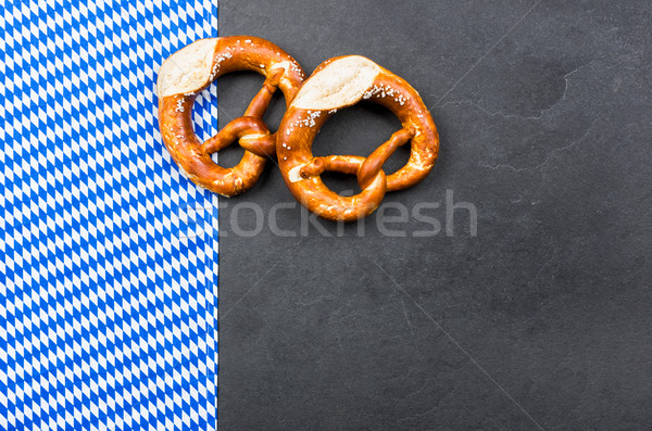 Slate plate with pretzels with a bavarian diamond pattern Stock photo © Zerbor