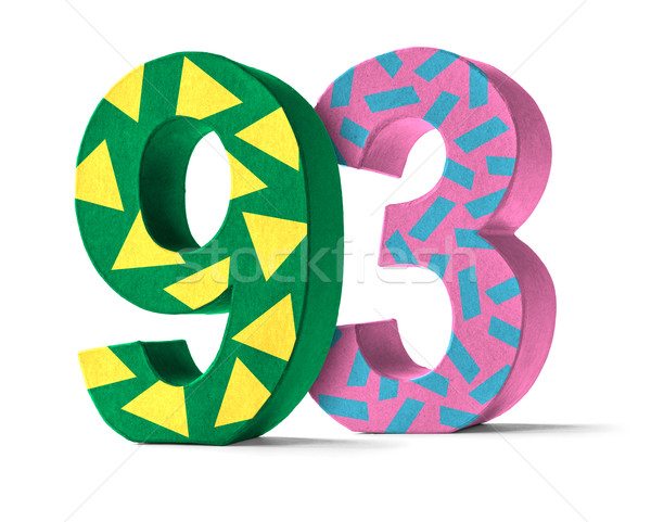 Colorful Paper Mache Number on a white background  - Number 93 Stock photo © Zerbor