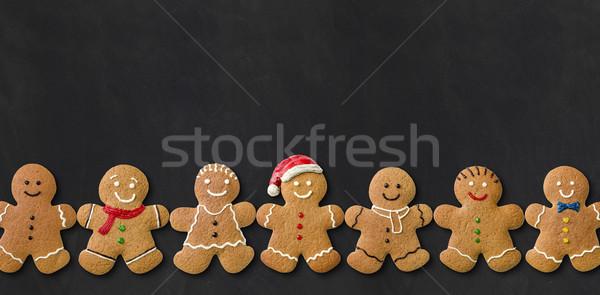 Foto stock: Pão · de · especiarias · homens · lousa · sorrir · feliz · natal