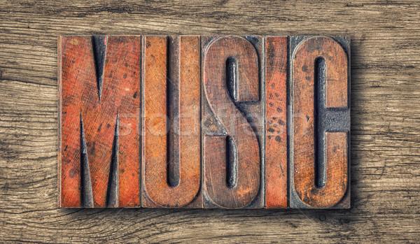 Antique letterpress wood type printing blocks - Music Stock photo © Zerbor