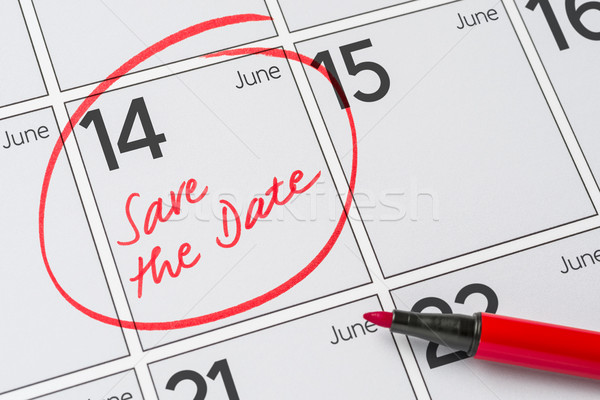 Save the Date written on a calendar - June 14 Stock photo © Zerbor